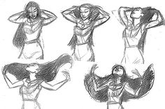 Pocahontas concept art by Glen Keane Disney Pocahontas, Disney Art, Disney Stuff, Animation Reference, Art Reference Poses, Animation Sketches, Character Design Animation, Character Design References, Character Design