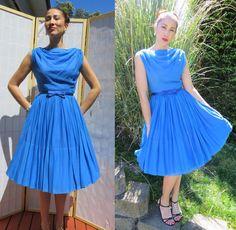 Vintage blue 50s dress/ sleeveless cowel neck draping dress/ vintage cocktail dress/ blue party dress/ blue chiffon dress