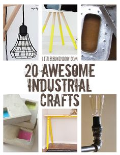 20 Awesome Industrial Crafts - Little Red WindowLittle Red Window Crafty Craft, Crafty Projects, Diy Projects To Try, Project Ideas, Crafting, Craft Ideas, Do It Yourself Furniture, Do It Yourself Projects, Diy Furniture