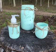 Mason Jar Kitchen Set Utensil Holder Mason by StacysCountryDesigns