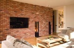 cegła Small Apartment Design, Small Apartments, Brick Detail, Exposed Brick, Brick Wall, Space Saving, My House, Family Room, Living Room