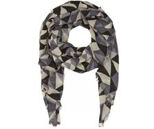 Scarf - Geometry Grey / Black - 100% fine merino wool - Bella Ballou