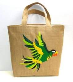 Jute Tote bag handmadeartisticapplique by Apopsis on Etsy