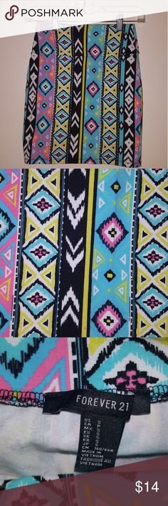 Bright Tribal Bodycon Mini Skirt Multicolored Bright Tribal Aztec Bodycon Mini Skirt - Worn Twice, EUC - No Tears, Stains, or Smells Forever 21 Skirts Mini