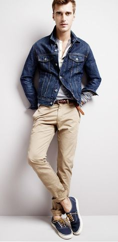Casual denim jacket style with turned up chinos