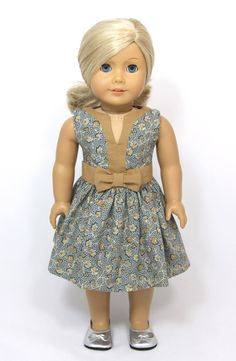 American Girl Doll Spring Easter dress with bow