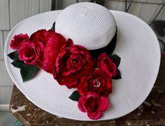 Kentucky derby hat, tea party hat with flower bouquet, white garden wedding hat, romantic hat, little black dress hat by girlylittle on Etsy