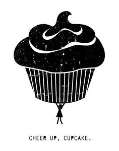 11 x 14 screen print Cheer Up Cupcake. by VisionCity on Etsy, $15.00