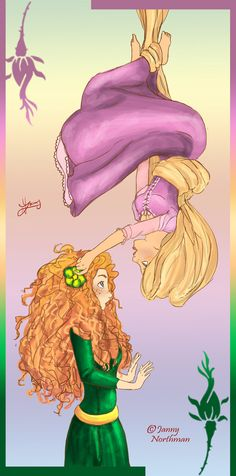 "Rapunzel & Merida, two girls with hard to ""manage"" hair"