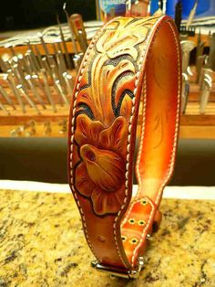 Tooled leather dog collar by AcrossLeather on Etsy.com