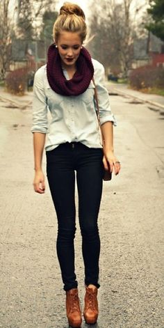 Jean button up shirt, dark jeans, lace up leather heeled boots, dark red infinity scarf, pearl studs, silver ring, and over the shoulder leather bag.