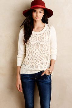 Love the lightweight sweater with knit detail.  Too white for me, but other shades would be lovely!