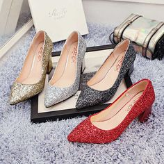 Red/Silver/Gold/Black Wedding Party Bling Shoes [VIVIDRESS10131] - R1064 : vividress.co.za Bling Shoes, Party Shoes, Pumps, Heels, Chanel Ballet Flats, Instagram, Formal, Silver, Red