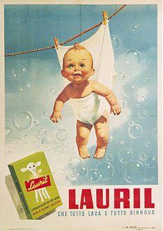 By Gino Boccasile (1901-1952), Lauril: che tutto lava e tutto rinnova (renews all things.). (I)