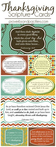 FREE Thanksgiving Scripture Cards! These would be a great way to focus on thanksgiving during the month of November. Some of my favorite verses!