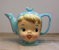 Miss CUTIE PIE Vintage Tea Pot with Bluebirds by VintageSupplyCo