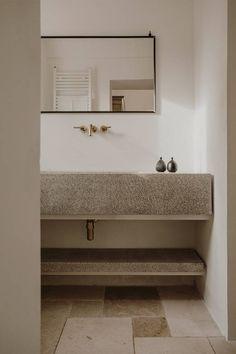 bathroom mirror concrete sink vanity Italian Spring: A Villa in the Puglia Countryside, with Rooms for Let - Remodelista Bad Inspiration, Bathroom Inspiration, Bathroom Ideas, Bathroom Organization, Shower Ideas, Budget Organization, Bathroom Storage, Bathroom Furniture, Bathroom Interior
