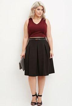 Forever 21+ - A knee-length skirt featuring allover box pleats, an invisible back zipper, and a skinny faux leather belt.