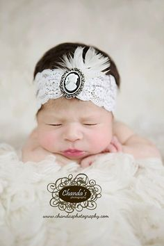 White Lace Newborn Headband Cameo Turban by LauraLeeDesigns108