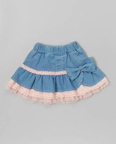 Loving this Denim & Pink Ruffle Skirt - Toddler & Girls on Little Girl Skirts, Baby Girl Skirts, Baby Skirt, Baby Dress, Ruffle Skirt, Toddler Skirt, Toddler Outfits, Kids Outfits, Toddler Girls