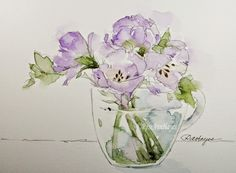 Watercolor Paintings by RoseAnn Hayes: Lavender Flowers in Glass Cup