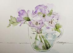 Watercolor Paintings by RoseAnn Hayes: Lavender Flowers in Glass Cup