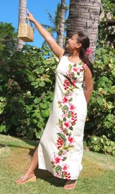 Long Paradise Ivory Hawaiian Wedding Dress Party