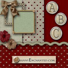 GRANNY ENCHANTED'S FREE DIGITAL SCRAPBOOK KITS: Free Linen Hearts Digital Scrapbook Kit