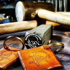 Many thanks to Working Man's Customs for sharing this photo of your stamped leather key fobs! #workingmanscustoms #handmade #stampedleather #leatherstamping #leathersmith #leatherwork #craftsmanship #craftsman #artisan #leatherworker #keyfob #infinitystamps
