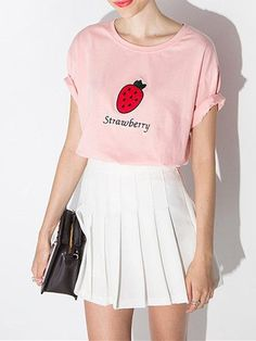 Pink Strawberry Graphic Tee