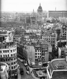 London, Canon Street Station - still showing bomb damage - photographed from the top of the Wren Monument in April 1960.