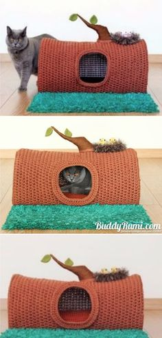 DIY Pets : Crochet Cat House & Nest Bed Patterns Crochet Tree Log Cat Cave House Paid Pattern – Crochet Cat House Patterns Sharing is caring, don't forget to share ! Chat Crochet, Crochet Baby, Crochet House, Crochet Cat Beds, Crochet Tree, Crochet Crafts, Doilies Crochet, Crochet Mandala, Yarn Projects