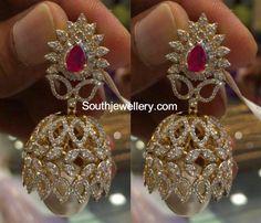 Uncut Diamond Necklace latest jewelry designs - Page 2 of 114 - Indian Jewellery Designs Diamond Jhumkas, Gold Jhumka Earrings, Gold Earrings Designs, Gold Jewellery Design, Gold Designs, Diamond Earrings, Diamond Studs, Diamond Jewelry, Gold Jewelry