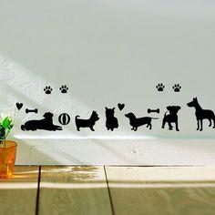 זול משלוח חינם אני אוהב רגליים כלב בעלי החיים מדבקות קיר בית עיצוב בית קישוט קיר declas עבור מטבח אסלת מדבקות מדבקה a73, לקנות איכות מדבקות קיר ישירות מספקי סין: free shpping Wholesale cute panda wall stickers home decor for kid room living room lovely animals wall decals art stick
