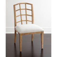 Maisy Wood-Back Side Chair ($699) ❤ liked on Polyvore featuring home, furniture, chairs, dining chairs, white, white side chair, wooden chairs, white chair, wood kitchen chairs and wooden dining chairs