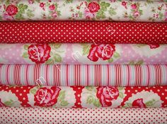 Yard Bundle / DELILAH Fabric / Tanya Whelan Fabric / RED by mimis, $57.00