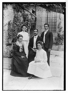 Yantiss family in 1898.  Image probably taken in the courtyard of the American Colony building, Jerusalem.