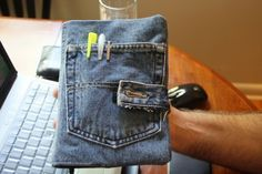 How to Make a Book or Bible Cover from Denim Jeans  Remove a pocket from the jeans. The point is the pocket, so use your scissors to cut it away when necessary. A seam ripper is too wimpy for this task. I didn't want to use the fabric underneath, so I didn't worry about making nicks in it.