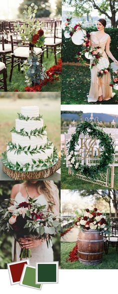 best wine and dark green wedding color ideas