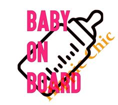 baby on board decal with baby bottle and by HippieChicsMakings