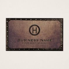 Construction Vintage Monogram Rusty Metal Framed Business Card