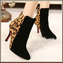 e3aedda3d682d0 Leopard and Black Suede Leather Back Zip Up 3 inch Stiletto Ankle Boots  Leopard Print Boots