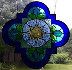 Arabesque blue Purple, Turquoise, Quatrefoil Stained Glass Panel, window, suncatcher gift, sun catcher