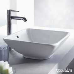 REUTER Shop recommends: Duravit Bacino square countertop washbasin white 0333420000 ✓ with Best Price Guarantee. Duravit, Downstairs Loo, Basin Mixer, Master Bath, Countertops, House Design, Cleaning, Bathroom Ideas, Bathroom Designs