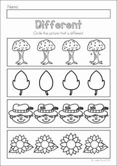 Autumn / Fall Preschool No Prep Worksheets & Activities Printable Preschool Worksheets, Free Kindergarten Worksheets, Preschool Learning Activities, Preschool Colors, Fall Preschool, Preschool Math, September Preschool, Kindergarten Prep, English Worksheets For Kids