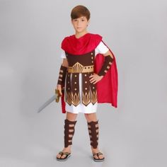 New high quality children Gladiator costume Roman soldiers clothes Set halloween cosplay party Roman Guard Hercules costume