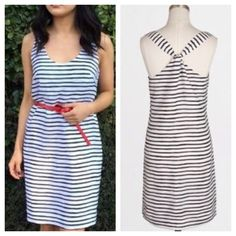 """NWT J. Crew  Striped Shift Racerback Dress --- 6 NWT J. Crew  Factory Black & White Striped Shift Racerback Dress --- 6 --- 18.5"""" bust --- 36"""" length --- Polyester --- Fully lined --- Side zipper with hook and eye closure --- Classic Staple --- thank you for visiting my boutique, please feel free to ask any questions --- More pics to come J. Crew Dresses"""