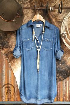 The Logandale - Tencel denim shirt dress from Savannah Sevens Western Chic