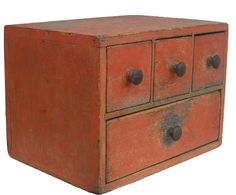 Early century New England pumpkin painted Apothecary Spice Chest, wonderful small size and form, tee head and square head nails with one board construction, all original Primitive Furniture, Primitive Antiques, Country Primitive, Country Furniture, Primitive Cabinets, Primitive Bedroom, Primitive Homes, Primitive Decor, Country Decor