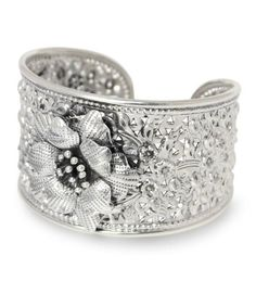 Sterling silver flower bracelet, `Jasmine Exuberance`